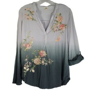 Anthro (Tiny) gray umbre embroidered top